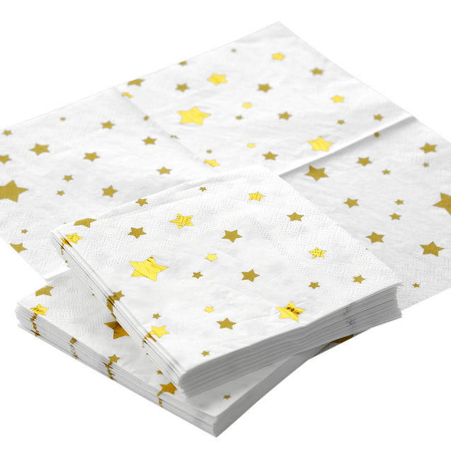 White with Gold Stars Fancy Party Paper Napkins — STRAWTOPIA