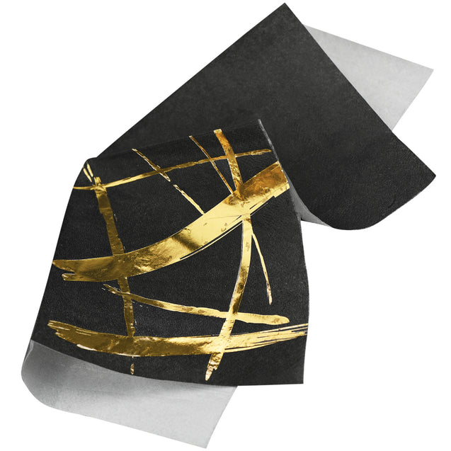 Black & Gold Fancy Party Paper Napkins — STRAWTOPIA