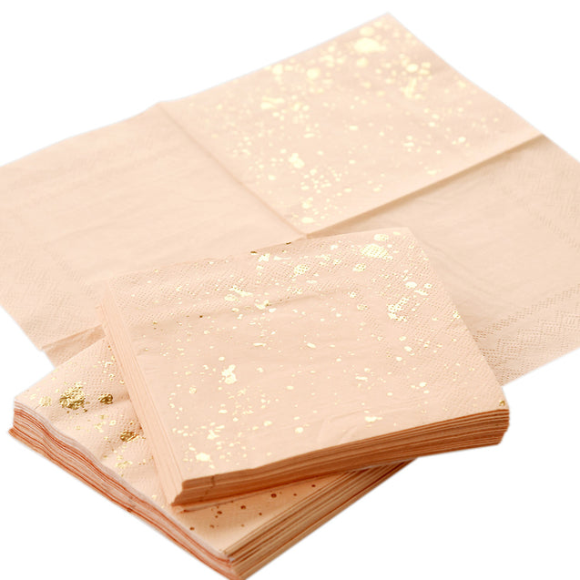 Peach Color with Gold Patterns Fancy Party Paper Napkins — STRAWTOPIA