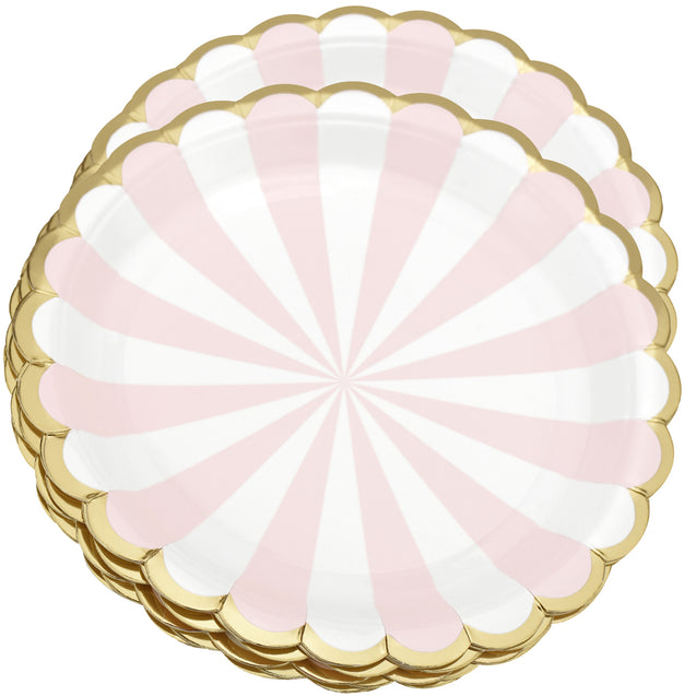 8'' White and Pink with Gold Accent Floral Edge Party Paper Plates  — STRAWTOPIA