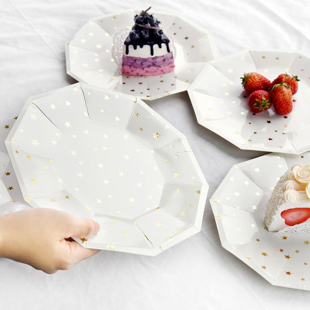 STRAWTOPIA disposable paper plates 8 inch white with gold metallic stars party supplies
