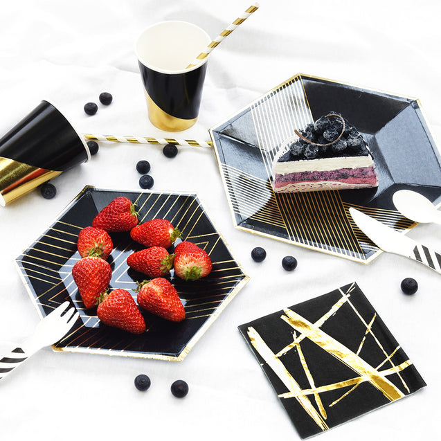 STRAWTOPIA disposable paper plates black gold patterns hexagon reference photo with food