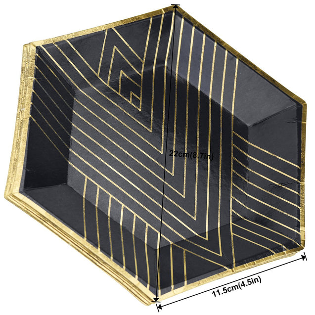 STRAWTOPIA disposable paper plates black gold patterns hexagon reference photo with size dimensions