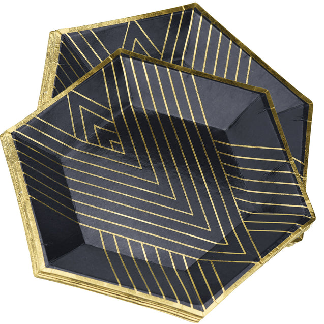 STRAWTOPIA disposable paper plates black gold patterns hexagon showing top of plate