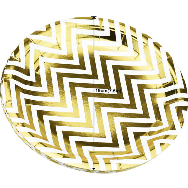 7'' White with Gold Chevron Pattern Round Party Paper Plates — STRAWTOPIA