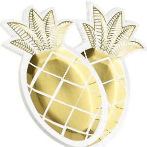 Golden Pineapple Shaped Party Paper Plates