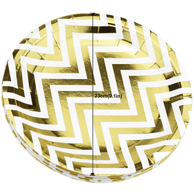 9'' White with Gold Chevron Pattern Round Party Paper Plates — STRAWTOPIA