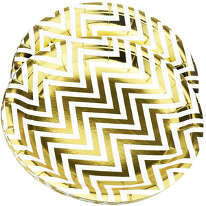 10'' White with Gold Chevron Pattern Round Party Paper Plates — STRAWTOPIA