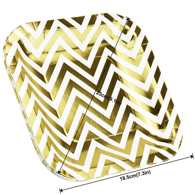 7'' White with Gold Chevron Pattern Square Party Paper Plates — STRAWTOPIA