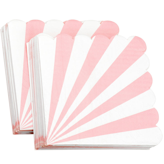 Pink and White Stripe Floral Fancy Party Paper Napkins