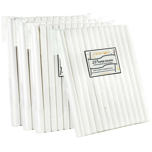 Strawtopia 12mm paper straws for milkshakes bubble tea boba