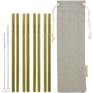 8 Strawtopia Bamboo Straws 2 cleaning brushes and burlap case