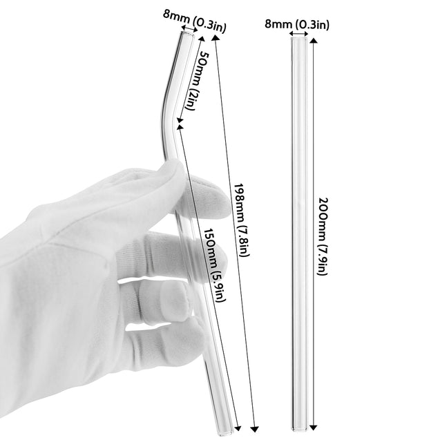 dimensions for strawtopia bendy glass straw and straight glass straw 7.9 inches x 0.2 inches 8mm wide