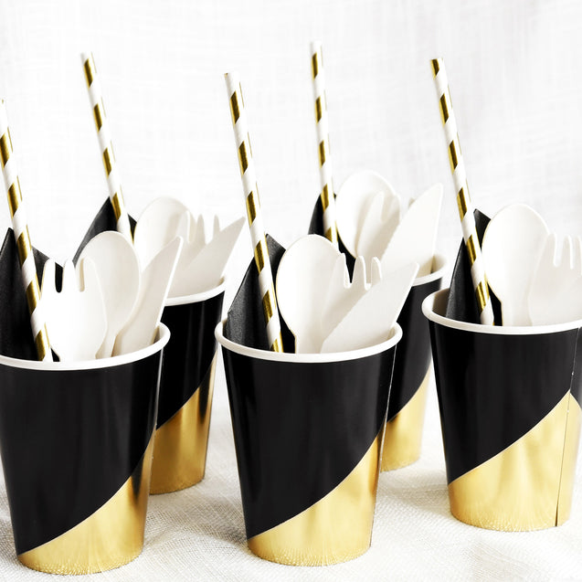10 oz. Black & Gold Fancy Party Paper Cups — STRAWTOPIA