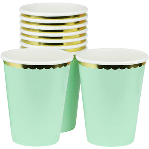 Mint Green with Gold Floral Edge Fancy Party Paper Cups — STRAWTOPIA