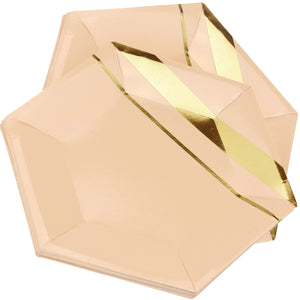 10'' Peach Color with Gold Pattern Hexagon Party Paper Plates — STRAWTOPIA