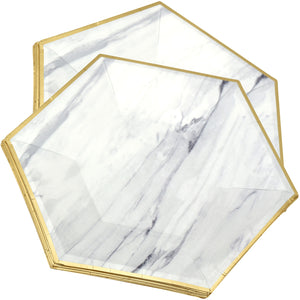 8'' Marble with Gold Edge Hexagon Party Paper Plates  — STRAWTOPIA