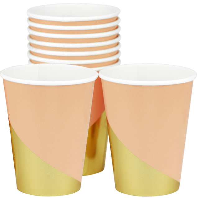 10 oz. Peach Color Fancy Party Paper Cups — STRAWTOPIA