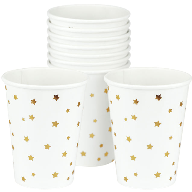 White with Gold Stars Fancy Party Paper Cups — STRAWTOPIA