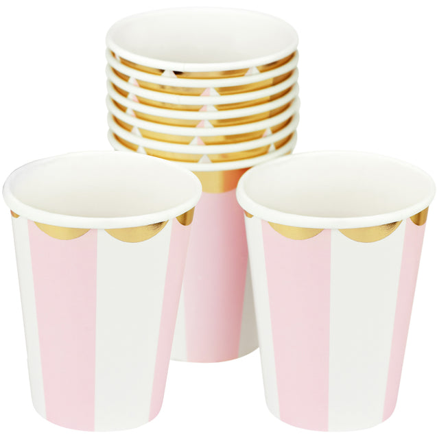 Pink | White & Gold Floral Edge Fancy Party Paper Cups — STRAWTOPIA