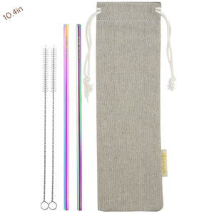 2 Straight (10.4 inches) Rainbow Reusable Metal Straws with Cleaning Brushes — STRAWTOPIA