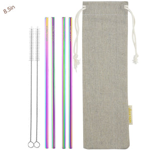 4 Straight (8.5 inches) Rainbow Reusable Metal Straws with Cleaning Brushes — STRAWTOPIA