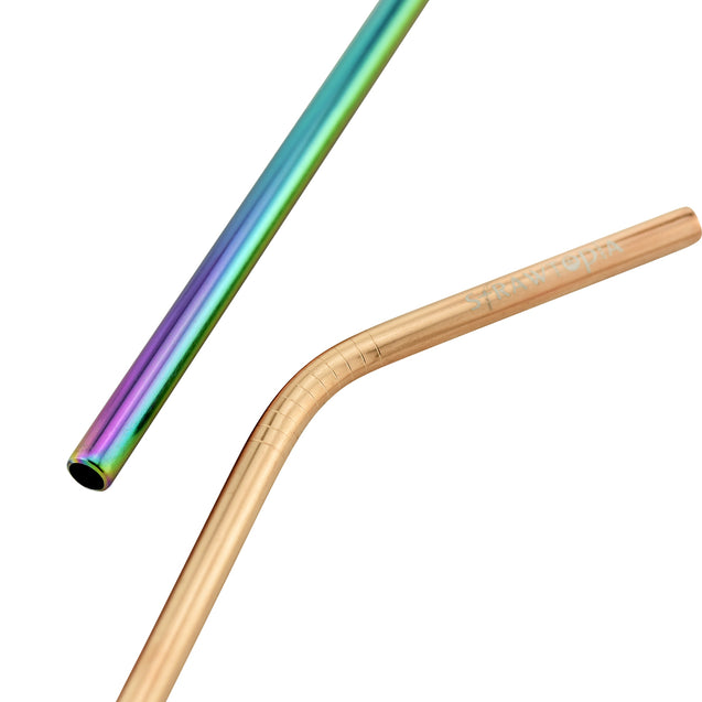 (8.5 inches)1 Bendy Champagne Gold 1 Straight Rainbow  Reusable Metal Straws with Cleaning Brushes — STRAWTOPIA