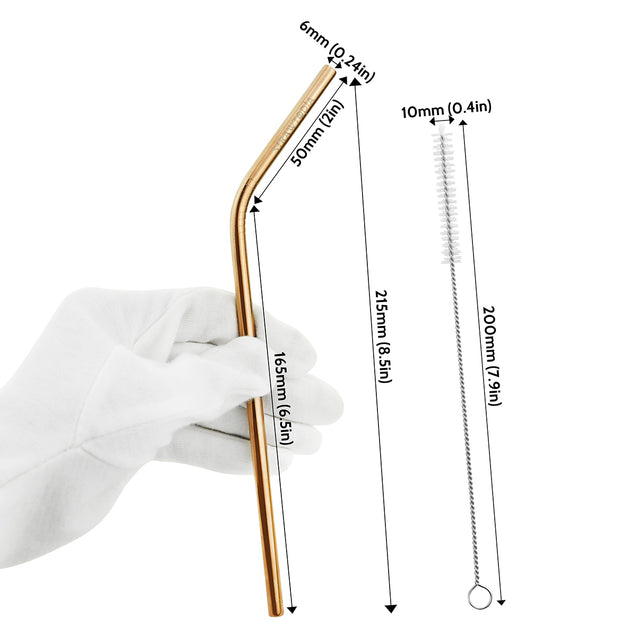 2 Bendy (8.5 inches) Champagne Gold Reusable Metal Straws with Cleaning Brushes — STRAWTOPIA