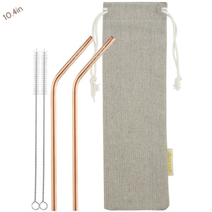 2 Bendy (10.4 inches) Champagne Gold Reusable Metal Straws with Cleaning Brushes — STRAWTOPIA