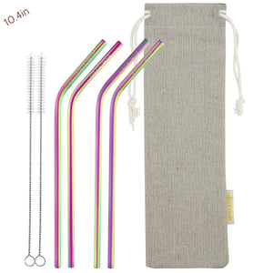 4 Bendy (10.4 inches) Rainbow Reusable Metal Straws with Cleaning Brushes — STRAWTOPIA