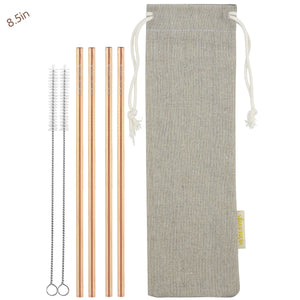 4 Straight (8.5 inches) Champagne Gold Reusable Metal Straws with Cleaning Brushes — STRAWTOPIA