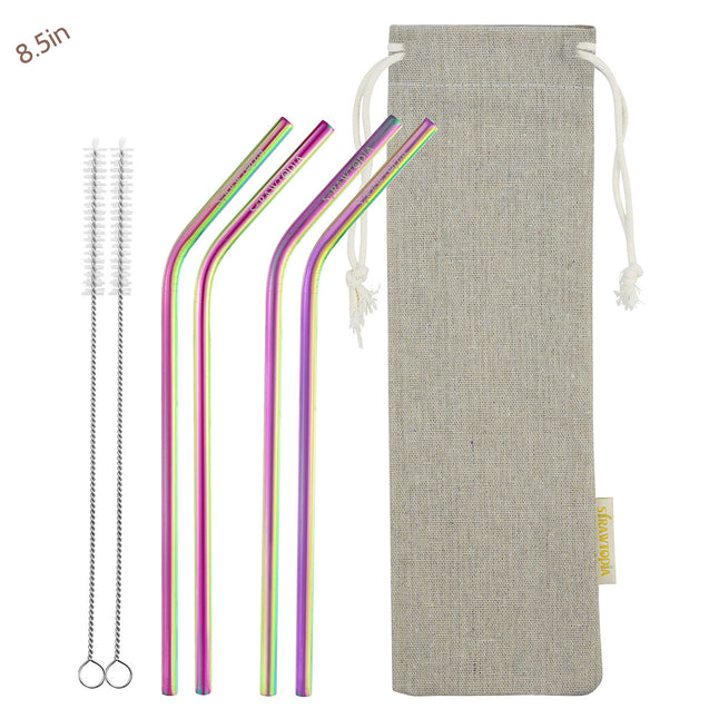 4 Bendy (8.5 inches) Rainbow Reusable Metal Straws with Cleaning Brushes — STRAWTOPIA