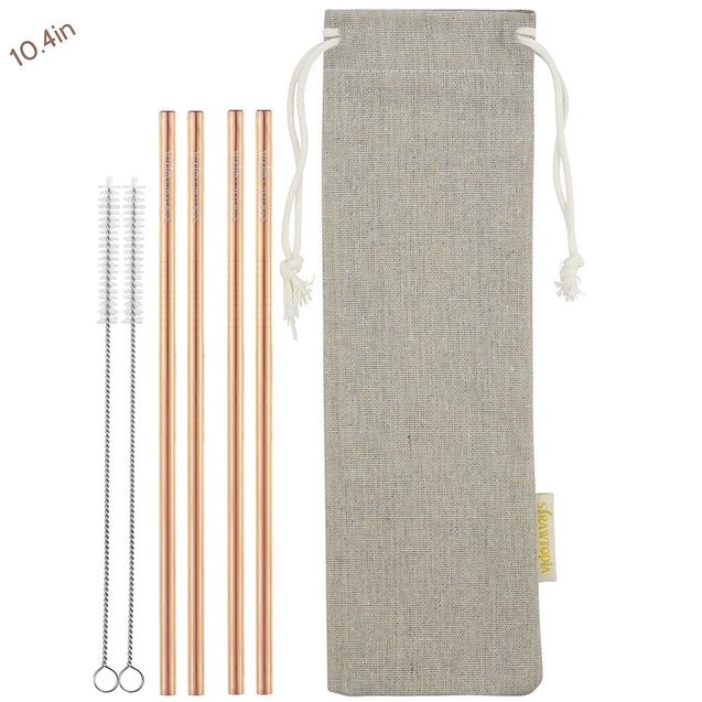4 Straight (10.4 inches) Rainbow Reusable Metal Straws with Cleaning Brushes — STRAWTOPIA2 Straight (10.4 inches) Champagne Gold Reusable Metal Straws with Cleaning Brushes — STRAWTOPIA
