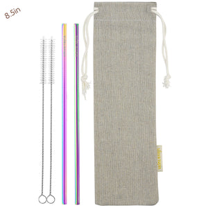 2 Straight (8.5 inches) Rainbow Reusable Metal Straws with Cleaning Brushes — STRAWTOPIA