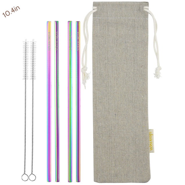 4 Straight (10.4 inches) Rainbow Reusable Metal Straws with Cleaning Brushes — STRAWTOPIA