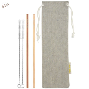 2 Straight (8.5 inches) Champagne Gold Reusable Metal Straws with Cleaning Brushes — STRAWTOPIA