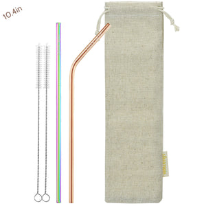 (10.4 inches)1 Bendy Champagne Gold 1 Straight Rainbow Reusable Metal Straws with Cleaning Brushes — STRAWTOPIA