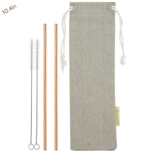 2 Straight (10.4 inches) Champagne Gold  Reusable Metal Straws with Cleaning Brushes — STRAWTOPIA