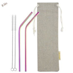 2 Bendy (8.5 inches) Rainbow Reusable Metal Straws with Cleaning Brushes — STRAWTOPIA