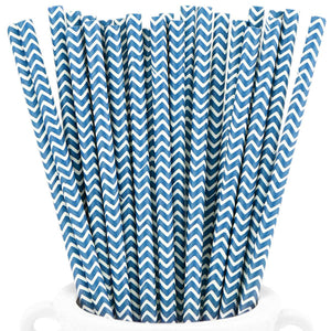 Midnight Blue Chevron Paper Straws — STRAWTOPIA