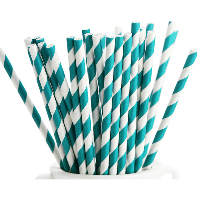 Turquoise Blue and White Striped Paper Straws — STRAWTOPIA - STRAWTOPIA