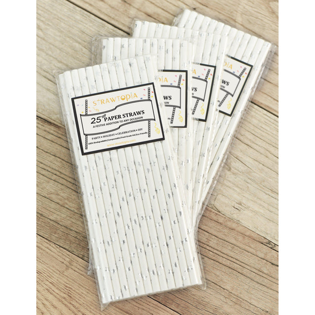 Metallic Silver Stars Paper Straws Biodegradable and Compostable - STRAWTOPIA