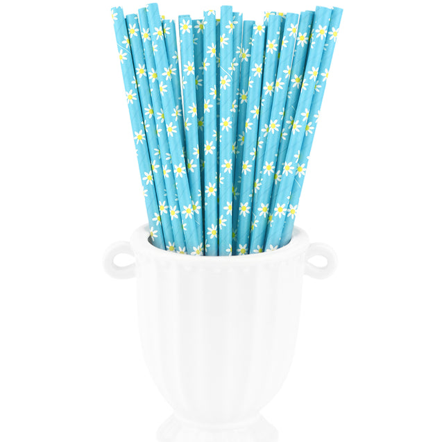 Blue | White Daisy Paper Straws Biodegradable and Compostable - STRAWTOPIA