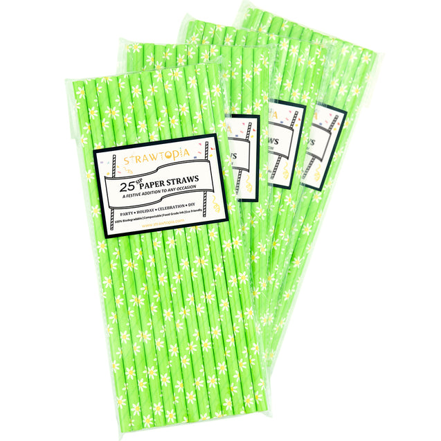 Green | White Daisy Paper Straws Biodegradable and Compostable - STRAWTOPIA