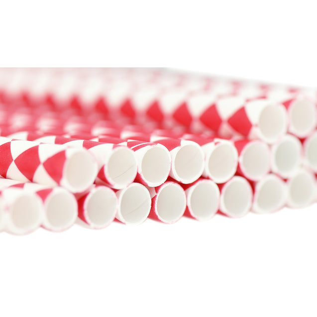 Red | White Diamond  Paper Straws Biodegradable and Compostable - STRAWTOPIA