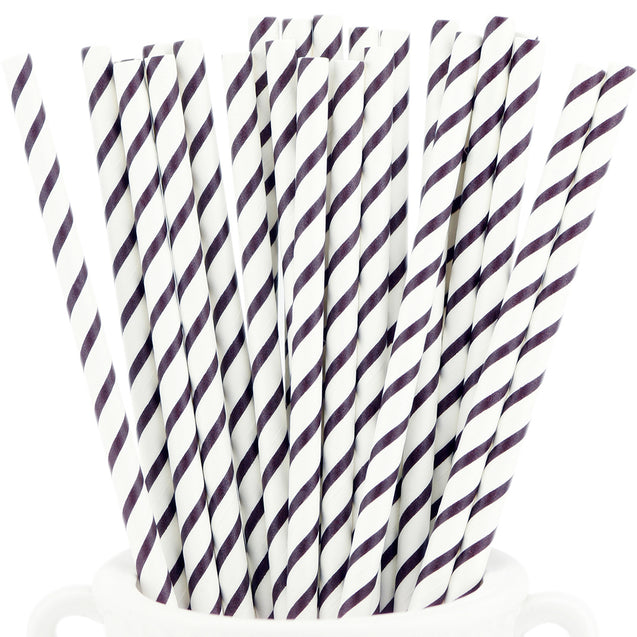 Dark Purple Striped Paper Straws — STRAWTOPIA - STRAWTOPIA