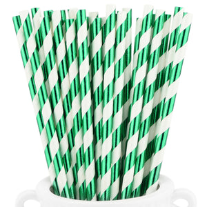 Metallic Green Striped Paper Straws — STRAWTOPIA - STRAWTOPIA