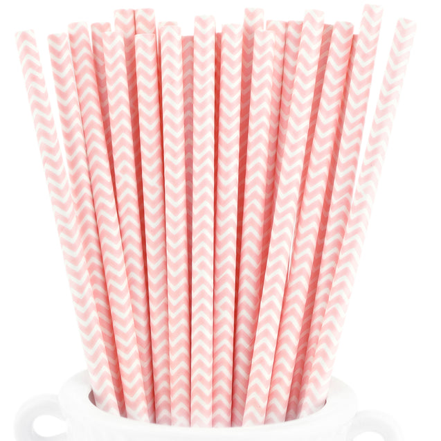Pink | White Chevron Paper Straws Biodegradable and Compostable - STRAWTOPIA