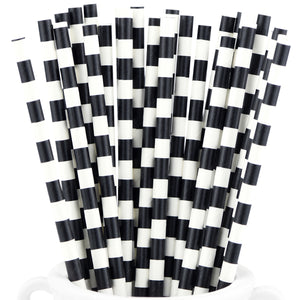 Black with White Column Paper Straws Biodegradable and Compostable - STRAWTOPIA