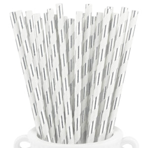Metallic Silver Striped Paper Straws — STRAWTOPIA - STRAWTOPIA